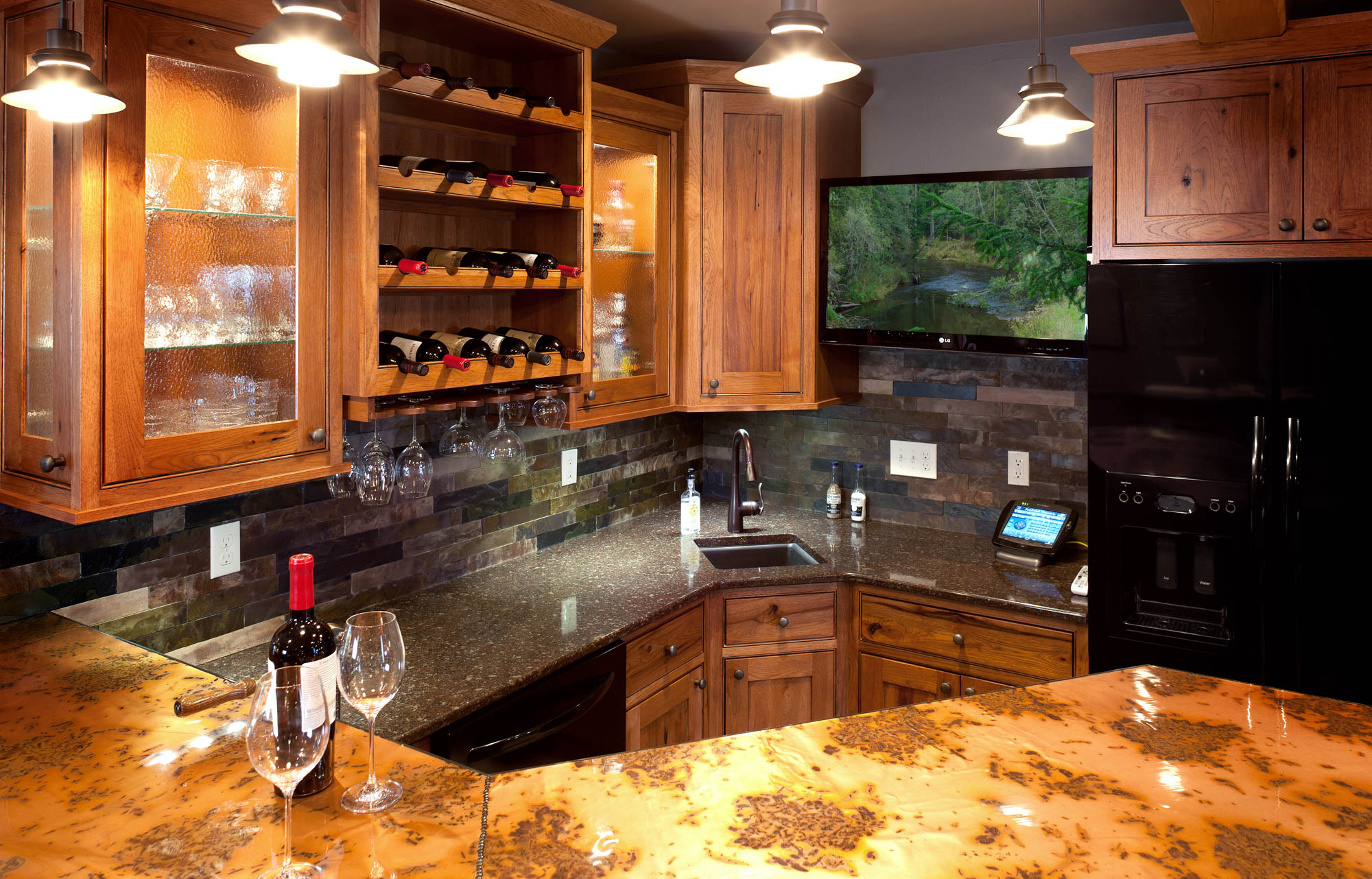 Stained home theatre wet bar in Autumn with Ebony Glaze by Showplace Cabinetry - view 3