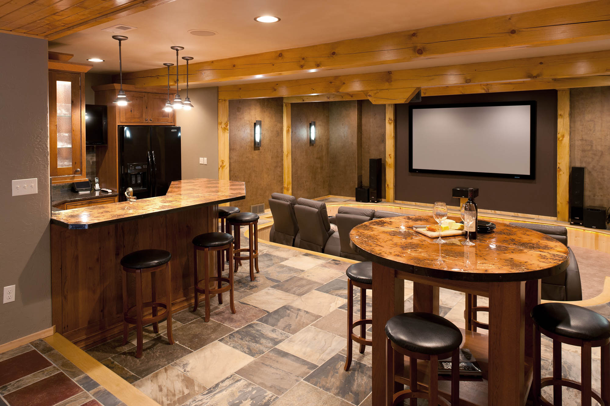 Stained home theatre wet bar in Autumn with Ebony Glaze by Showplace Cabinetry - view 2