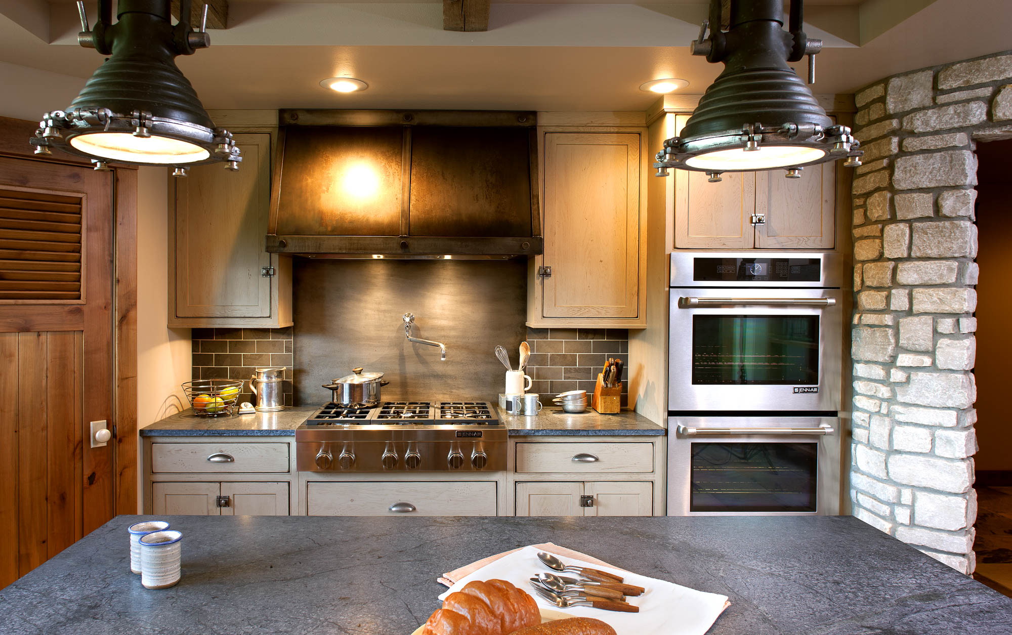 Painted kitchen cabinets in Sandstone by Showplace Cabinetry - view 8
