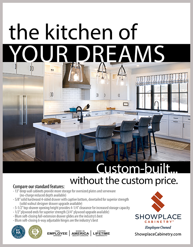 White painted kitchen cabinets are shown and Showplace Cabinet construction features are described.