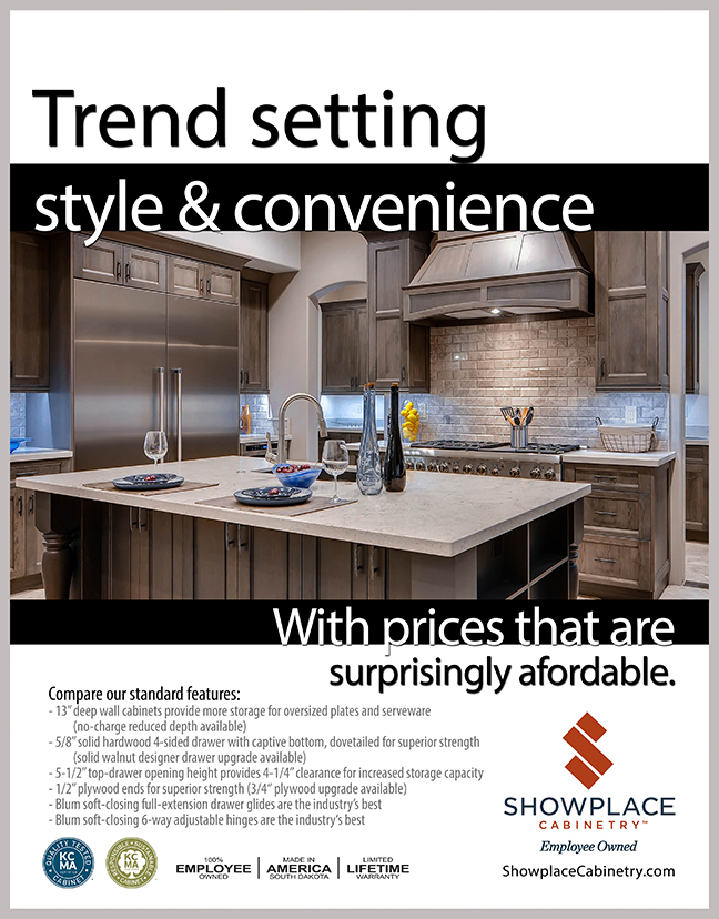 Gray stained kitchen cabinets are shown and Showplace Cabinet construction features are described.