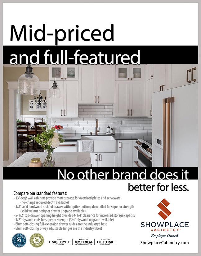 White kitchen cabinets are shown and Showplace Cabinet construction features are described.