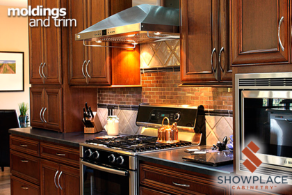 Small flush moldings trim out the lower borders of wall cabinets, and help conceal the under-cabinet puck lights.