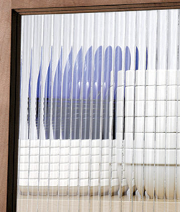 Reeded decorative glass option for Showplace cabinetry