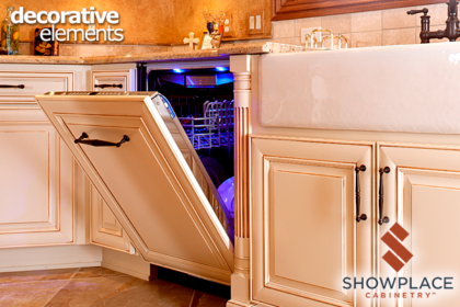 Appliance panels are offered in custom sizes to fit almost any kitchen appliance. They give a room a very coordinated look.