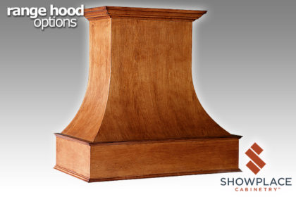 The Curved Chimney Range Hood has a graceful, sweeping design.