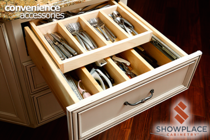 This cutlery drawer features a sliding upper tray for maximum storage utilization and ease of access.