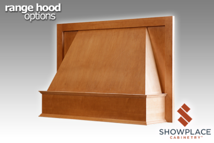 The Designer Range Hood accepts carved onlays on its front apron.