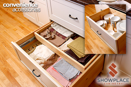 Base cabinet organizers bring order and ease to everything from table linens to dishes.