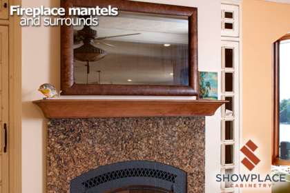 This handsome Showplace mantel was created to coordinate with other design features in this lake home.