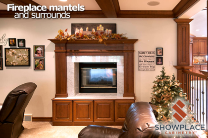 A Showplace fireplace surround adds homey charm to this comfortable family room.