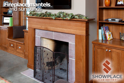 This lovely living-room creation centers on a Showplace fireplace surround. Bookshelf and storage cabinets on each side give a carefully-balanced look.