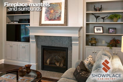 This Classic Corbel fireplace surround is flanked by inset bookcase cabinets.