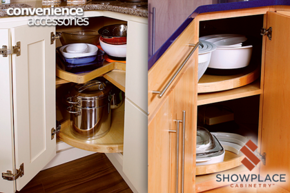 Lazy susan corner cabinets are offered in many styles, sizes and configurations. They make good use of space that might otherwise go to waste.