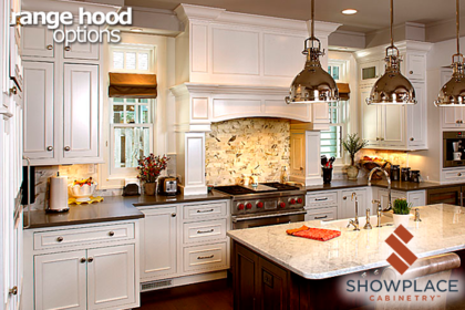 This dramatic mantel range hood creation incorporates many custom features.