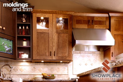 A simple Shaker crown molding fits well in this sleek transitional design.
