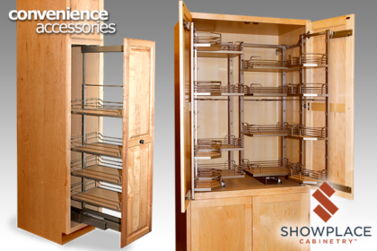 Tall pantry pull-outs are great examples of efficient space utilization.