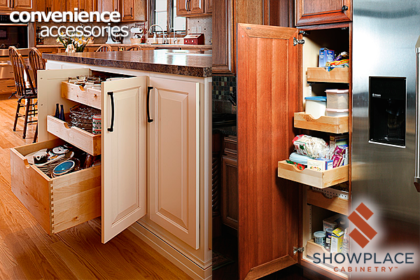 Roll-out trays are offered in many sizes of base cabinets, tall cabinets and pantries. Once you've lived with these, you'll wonder how you ever got along without them.