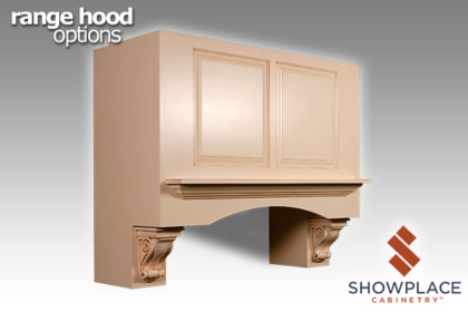 The Shelf Range Hood with Corbels is an expressive choice.
