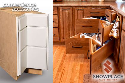 A square corner base has three spacious drawers and is an impressive piece of engineering.