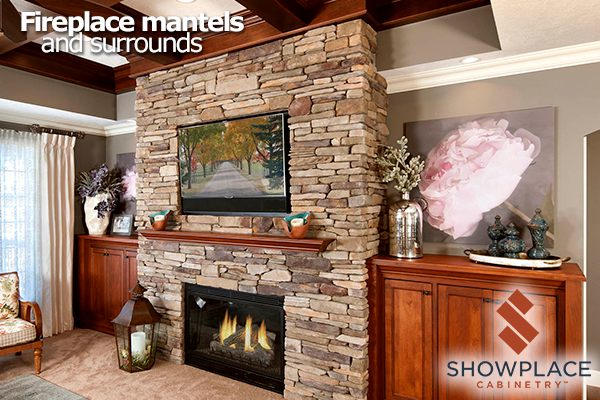An Elegant Showplace Mantel Between Cherry Inset Storage Cabinets.
