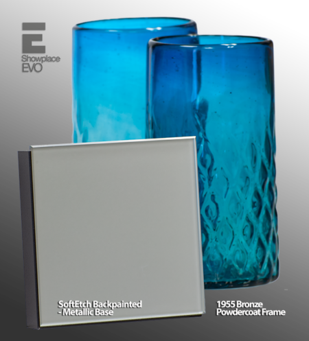 1955 Bronze Powdercoat SoftEtch Backpainted Metallic Base Glass